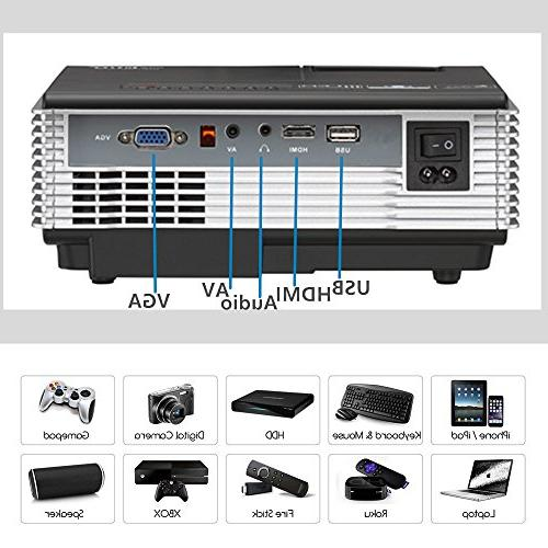 LED Wireless Bluetooth HDMI Projector Theater Smart Proyector Party Built-in Speakers VGA AV Out