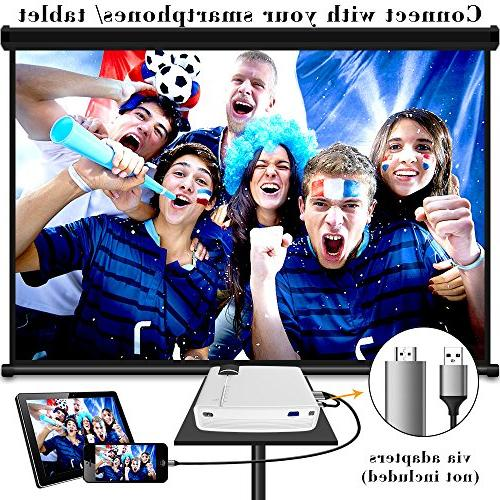 ELEPHAS LED Technology Support Portable Mini Projector Ideal for Home Theater Cinema Video Entertainment White