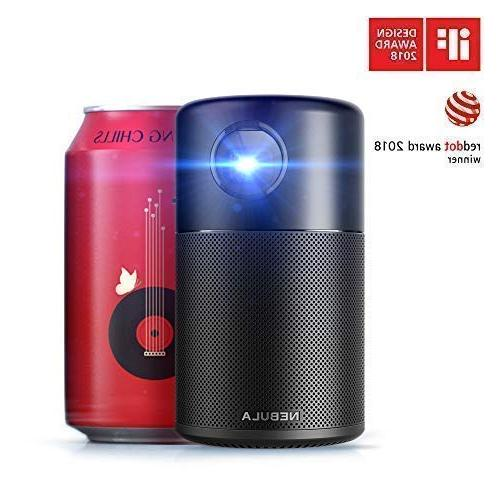 """Nebula Capsule, by Anker, Smart Projector, lm High-Contrast DLP, 360° Speaker, 100"""" Android Video Playtime, App"""