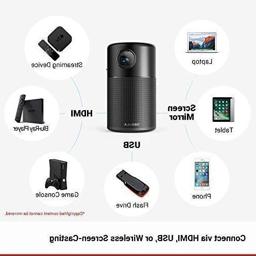 """Nebula Capsule, Smart Wi-Fi Mini Projector, ANSI lm High-Contrast Cinema, 360° Speaker, 100"""" Android 7.1, Playtime, and App"""