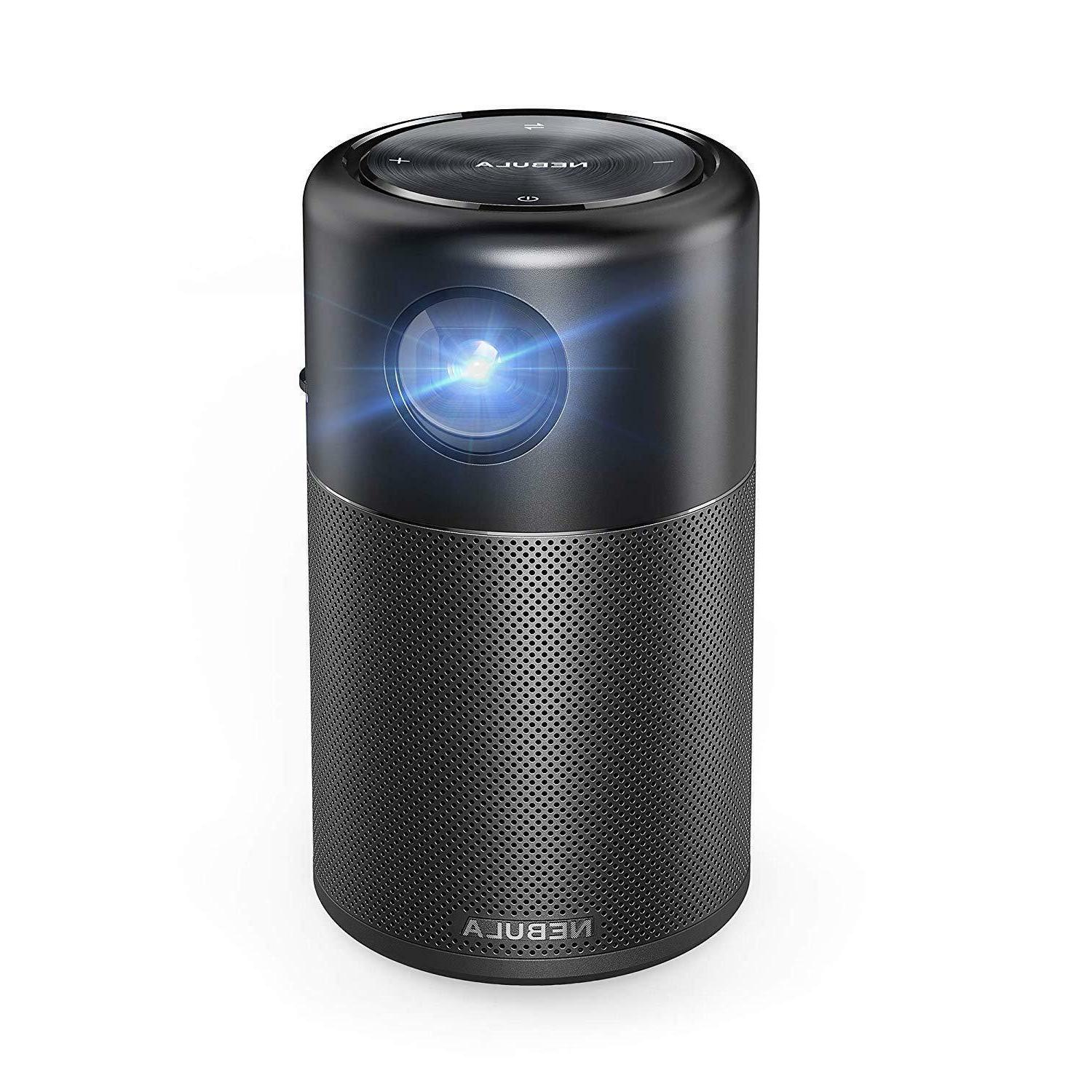 "Nebula Capsule, Projector, High-Contrast 360° 100"" Picture, Android 7.1, Video Playtime, and"