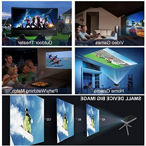 "PTVDISPLAY Portable Projector, Android 7.1 Video Projectors, Pico USB 130"" Wireless Display"