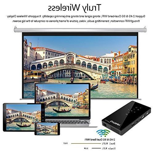 PTVDISPLAY Mini Android 7.1 Smart Pocket Video Pico Cinema WiFi/Bluetooth/Speaker/Auto USB Wireless Display