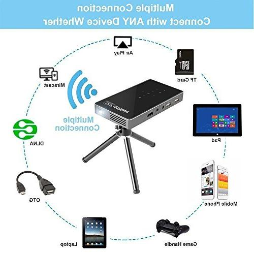 PTVDISPLAY Portable Projector, Android 7.1 Smart Video Pico WiFi/Bluetooth/Speaker/Auto USB TF Wireless