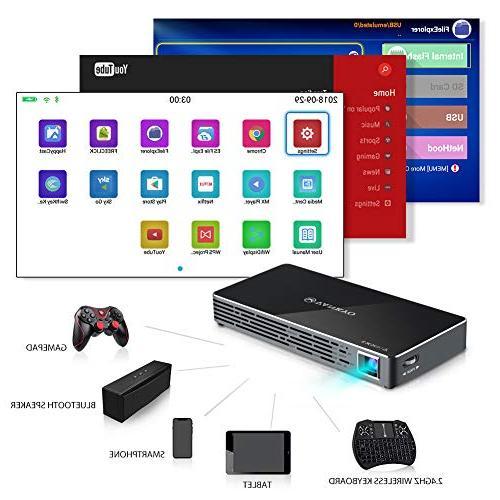 VANKYO DLP Smart Mini Portable Projector, 100 ANSI w/Andriod 7.1 Pre-Installed, HDMI, Micro Ports Mini Keyboard Tripod