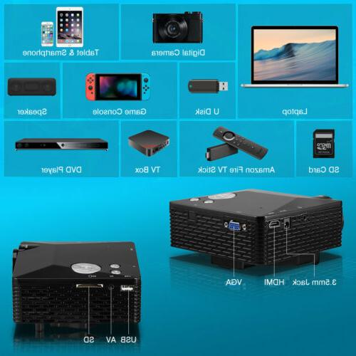 Portable 1080P Mini LED Projector HDMI Home Cinema US