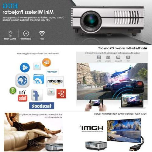 2800lms EUG Projector Bluetooth WiFi HD for HDMI