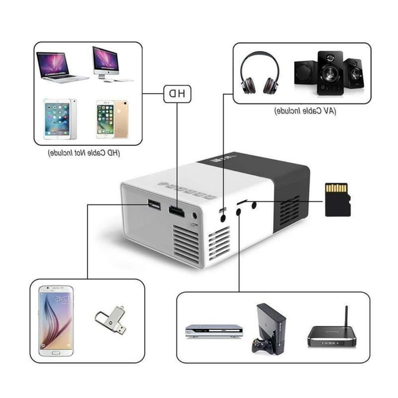 Artlii Portable Mini Home 1080P Projector with USB/SD/AV/HDMI Input