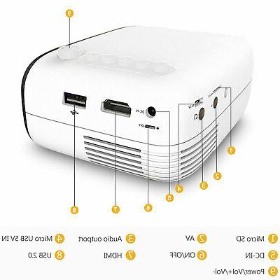 1080p Full Portable LED Projector Cinema Theater SD