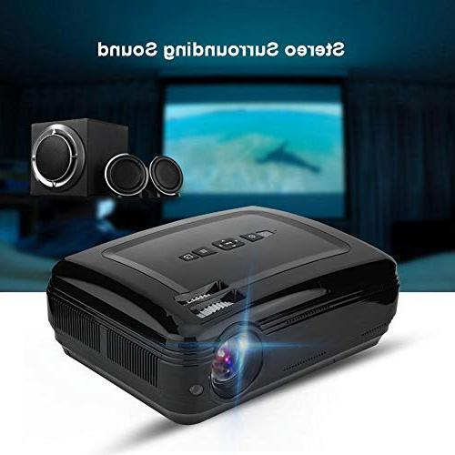 fosa Portable 1080P Full HD Home Theater Projector with 16.7K Screen Projector Support USB Card HDMI TV