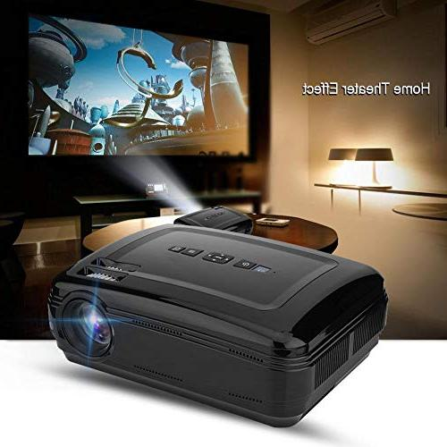 fosa Projector, 1080P Theater Projector Remote Control 3000:1 Stereo Sound Projector VGA USB SD TV