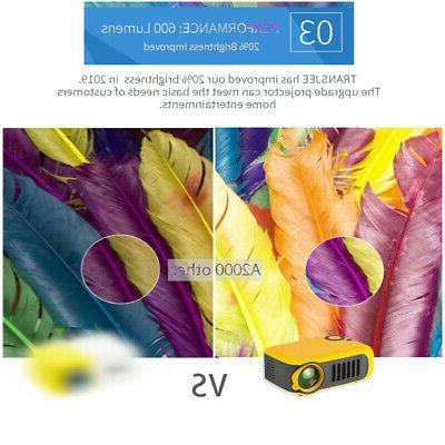 Portable Mini Projector 1080P Home Video USB/TF/AV/HDMI/IR