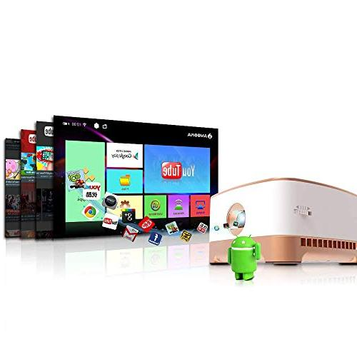 AMOOAW Projector,Mini Smart ANSI Bottom Video Playtime,Pico Projector Android 7.1 & Outdoor,Indoor,Camping,Smartphone