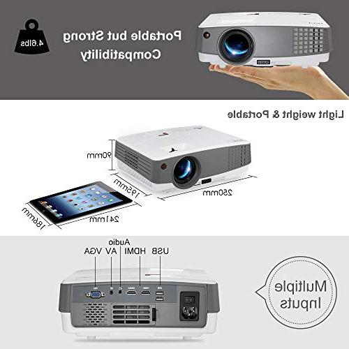 2019 LCD Projectors Lux Home with USB Aux Audio AV 720P 1080P for Gaming Outside Moive