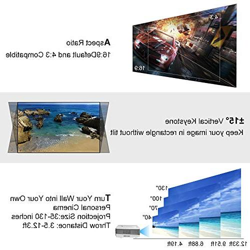 2019 Wireless Bluetooth LCD Mini TV Projector Home with USB Aux Audio AV 720P Gaming Outside Moive Night