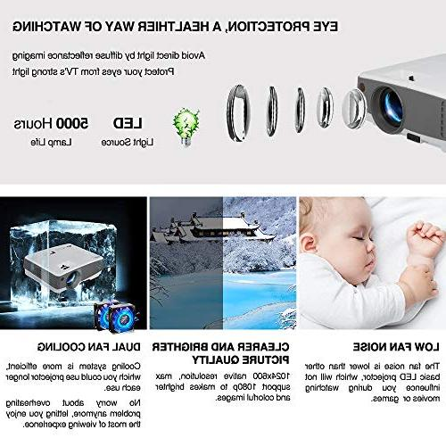 2019 LCD 2600 Lux Home Theater AV Android Support 720P for Gaming Outside Moive