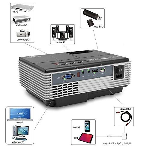 Projectors with HDMI USB, Wireless Android Apps, Mobile Outdoor Projector for PS4