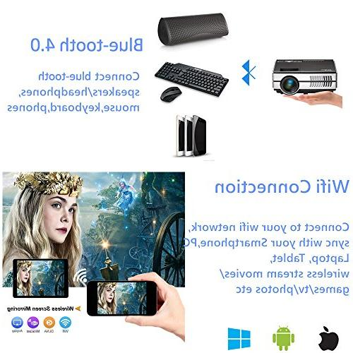 Portable Projectors Wifi HDMI USB, Wireless with Android Outdoor Movie iPhone Mac PS4