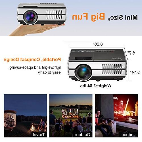 Portable Projectors with Wifi Bluetooth HDMI USB, Home Wireless Android OS Outdoor iPhone iPad PS4 DVD