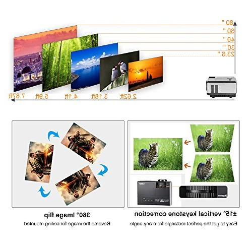 Portable Projectors Bluetooth HDMI Wireless Android Outdoor Movie iPhone PS4 DVD