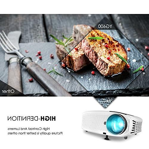 """Projector, with 3, 500 200"""" LCD HDMI AV USB Micro SD for Home Entertainment and"""