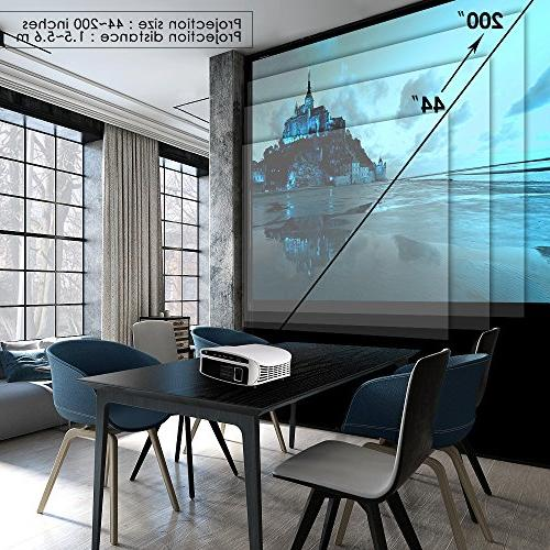 """Projector, ELEPHAS 3, 500 LUX 200"""" LCD Video Projector Support HDMI VGA Micro SD Ideal for Home and White"""