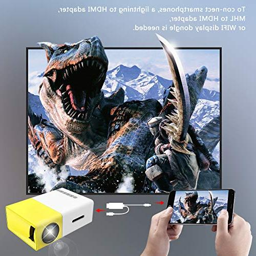 Projector, LED Projector, Pocket Projector USB SD HDMI for Video/Movie/Game/Home Theater