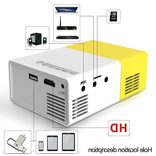 Projector, Portable LED Projector, Smartphone Pocket Projector AV SD HDMI for Video/Movie/Game/Home Theater Video Projector