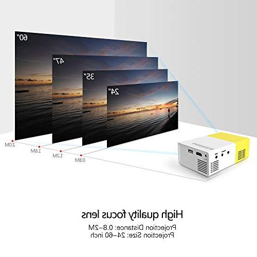Projector, Portable LED Smartphone Projector with AV USB SD