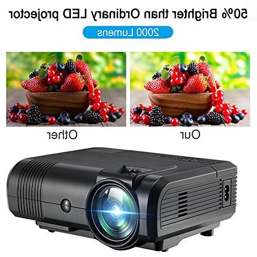 Movie Projector,Weton Projector 1080P Projector Multimedia Home Theater Outdoor All Smartphones