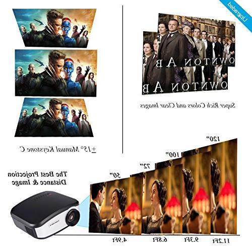 TANGCISON Video Projector,LCD Projector 1500Luminous Multimedia Theater Movies Projector for Laptop with USB VGA AV Input