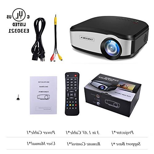 """TANGCISON 1500Luminous 160""""HD Multimedia Theater Projector for Cinema Laptop Game with USB VGA AV"""