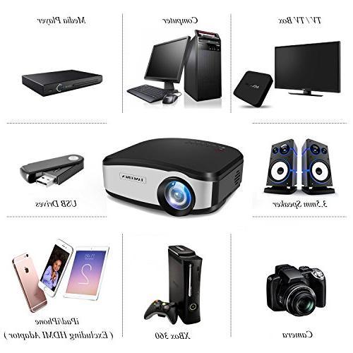 TANGCISON Video 1500Luminous Multimedia Projector Cinema TV Laptop Game USB