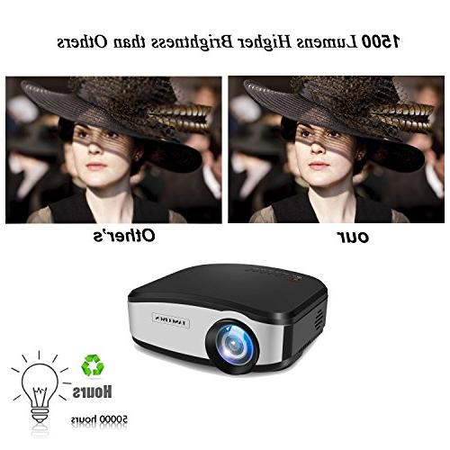 """TANGCISON Video Projector,LCD 1500Luminous 160""""HD 1080P Multimedia Theater Projector for Laptop Game USB"""