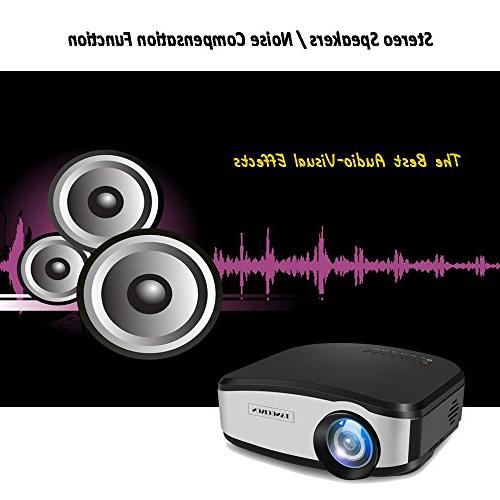 """TANGCISON Video 1500Luminous 160""""HD 1080P Multimedia Home Movies Projector Laptop Game with USB"""