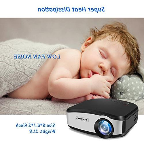 TANGCISON Video Projector,LCD Projector 1500Luminous Projector Multimedia Movies Projector for Laptop with HDMI USB VGA Input