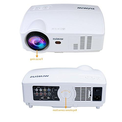 "Projector, T4 Lumens Projector 200"" Display Full HD 1080P hours Video Compatible TV Stick, USB for Home"