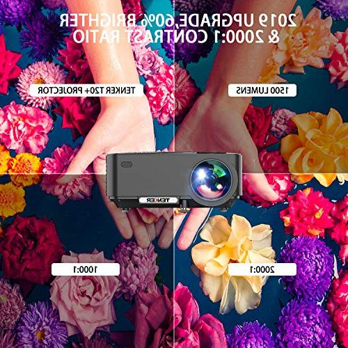 """Projector, 60% Home Theater Projector 4.0"""" LCD Up Display, Supports 1080P HDMI/USB/SD Card/AV/VGA"""