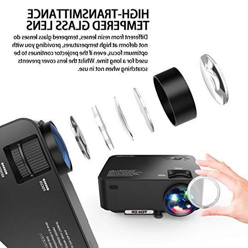 Projector, TENKER Projector, Theater Projector LCD to 176-inch Display, Card/AV/VGA