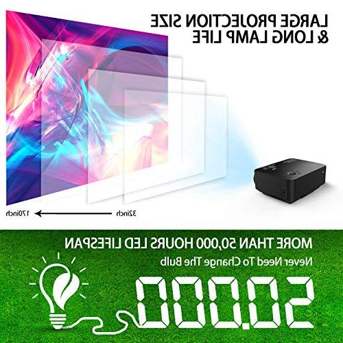 Projector, 60% Theater LCD Up to Display, Supports Card/AV/VGA