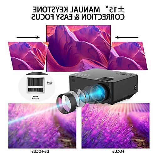 Projector, 60% Mini Theater Movie LCD Display, Supports Card/AV/VGA
