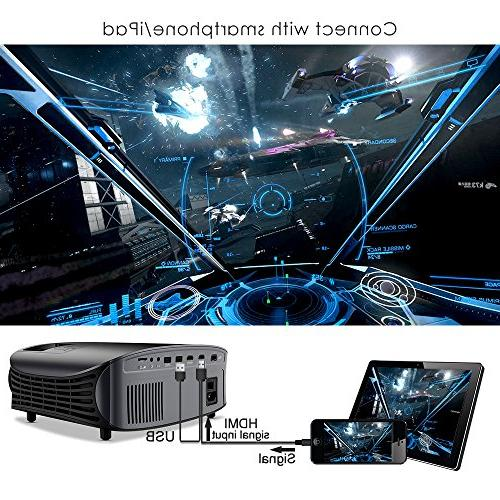 Projector, GooDee Outdoor Movie Projector, Home Theater Projector 1080P, Compatible TV HDMI, VGA, AV and USB