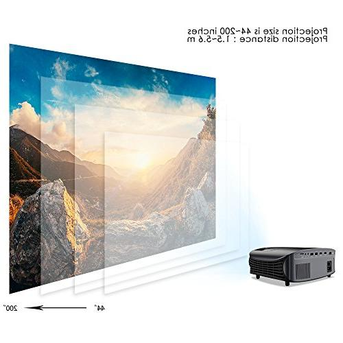 Projector, Outdoor Home Projector 1080P, Compatible with TV Stick, PS4, VGA, AV and USB