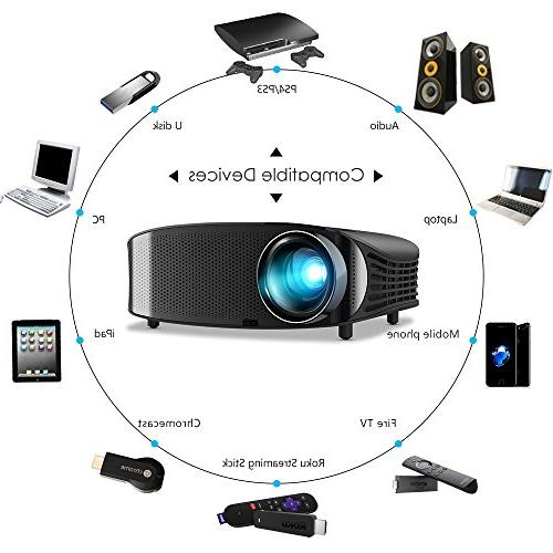 Home Theater Projector Support 1080P, Compatible with VGA, AV and