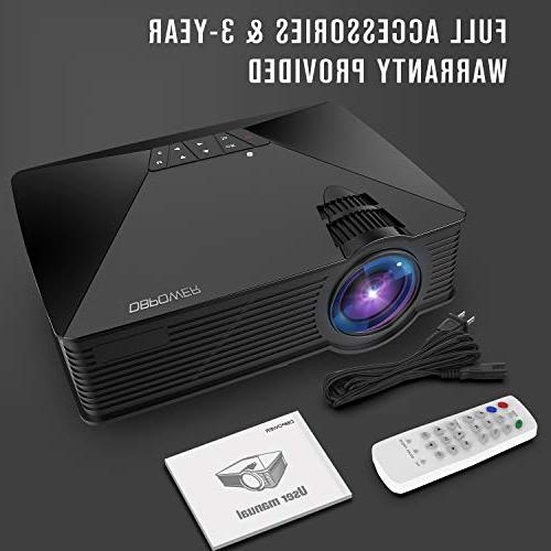 Projector, 2018 Upgraded Mini 50000Hours Lamp Home Projector, Support Smartphones/iPad/1080P/HDMI/USB/SD