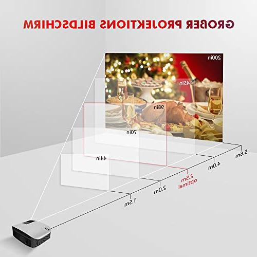 """Crenova Video Projector, Upgraded 200"""" Home Projector Resolution 1280x768 for PC/MAC/TV/DVD/Movies/Games/Outdoor with USB/Micro SD/AV/HDMI/VGA"""