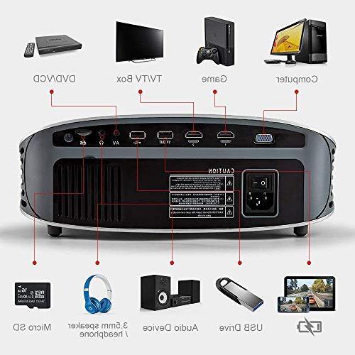 "Crenova HD 1080P Video Projector, 2019 200"" Projector Native Resolution 1280x768 for USB/Micro"
