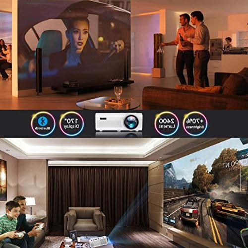 BIGASUO Bluetooth Projector Lumens, Mini TV 170'' and Supported with Cable