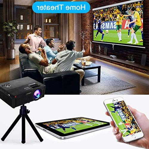 Video Projector Lumens Home   Mini Projector with Stand   Theater Supports 1080P   VGA AV Micro SD Home Party