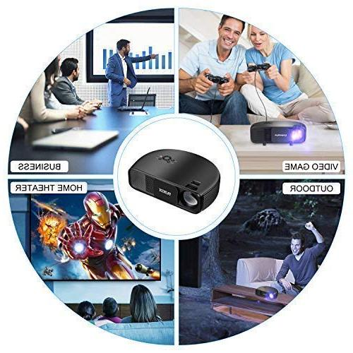 Projector, TAINIDI Projector 3600Lux, Full HD with Theater 2HDMI 2USB Headphone Jack, Compatible DVD PS4 TV